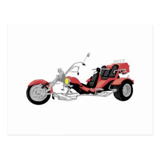 rotes Motorrad trike Postkarte