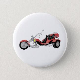rotes Motorrad trike Runder Button 5,7 Cm