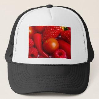 Rotes Obst und Gemüse Hut/Kappe Truckerkappe