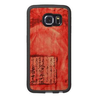 Rotes orange klares beunruhigtes Skript-Aquarell Handyhülle Aus Holz