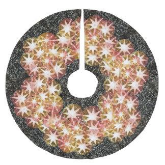 Rotes orange Kompass-Edelstein-diamante de Polyester Weihnachtsbaumdecke
