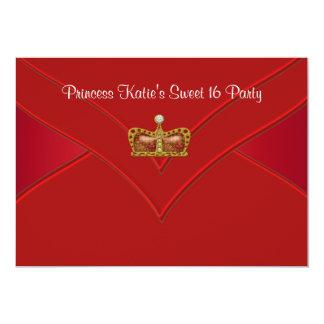 Rotes Party Goldprinzessin-Sweet 16 12,7 X 17,8 Cm Einladungskarte