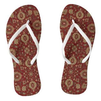 Rotes persisches Scharlachrot Arabesketapisserie Flip Flops
