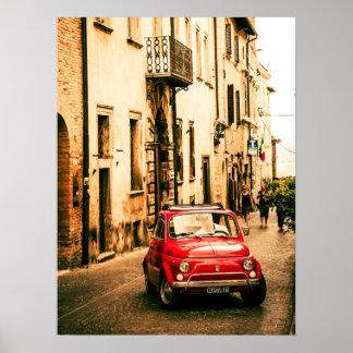 Rotes Plakat Fiats 500, Vintages cinquecento,
