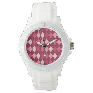 Rotes Rautenmuster Armbanduhr