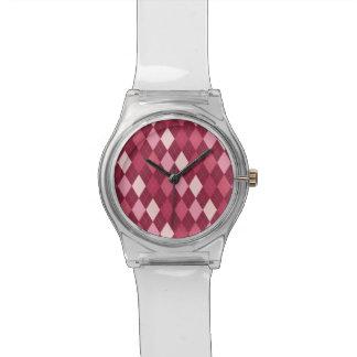 Rotes Rautenmuster Uhr