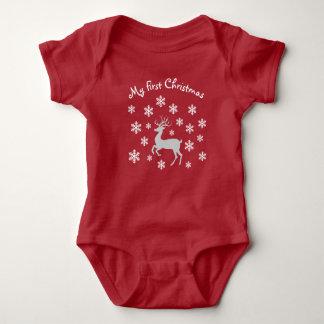 Rotes Ren-erste WeihnachtsSäuglings-Ausstattung Baby Strampler