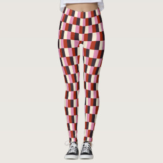 Rotes rosa Auberginen-Elfenbein-kariertes Muster Leggings