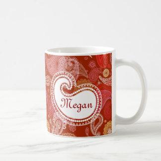 Rotes Scharlachrot Paisley Kaffeetasse