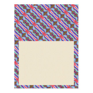 Rotes Schein-Faden-Muster n blaues helles Postkarte