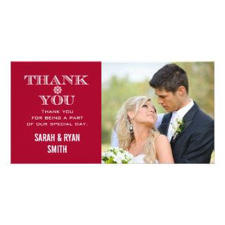 Rotes Schneeflocke-Hochzeits-Foto danken Ihnen Kar Photokarte