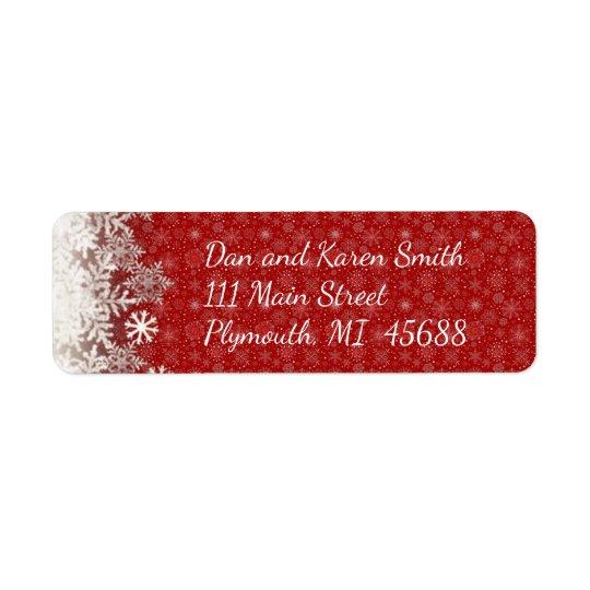 Rotes Schneeflocke-Weihnachtsadressen-Etikett