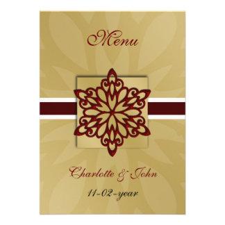 rotes Schneeflockewinter-Hochzeitsmenü Personalisierte Einladungskarten