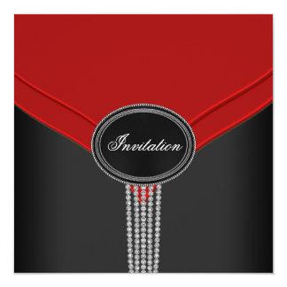 Rotes Schwarz-weißes Quadratische 13,3 Cm Einladungskarte
