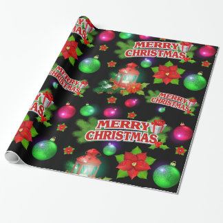 Rotes schwarzes grünes Sankt-Poinsettia-Packpapier Geschenkpapierrolle