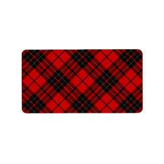 Rotes schwarzes kariertes Brodie Clan Tartan Adressaufkleber