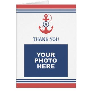 Rotes SeeFoto danken Ihnen Karte