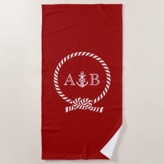 Rotes Seil und Anker mit Monogramm Strandtuch