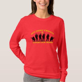 Rotes Shirt Freitag stützen unsere Truppe-lange
