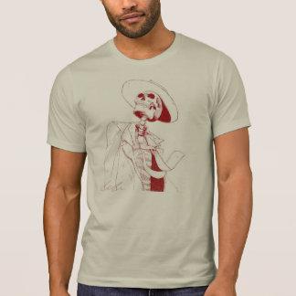 rotes Skelett mit einem Hut T-Shirt