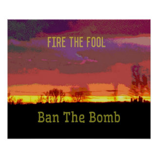 Rotes Skyscape #Banthebomb politischer Widerstand Poster