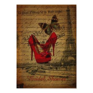 rotes Stiletteiffel-Turmparis-Brautparty Karte