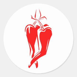 rotes Tanzen des Chilipfeffers zwei abstrakt Runder Aufkleber