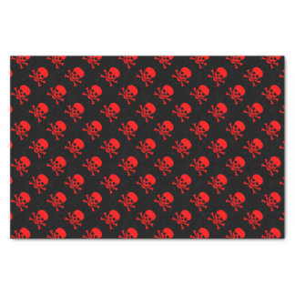 Rotes Totenkopf mit gekreuzter Knochen-Muster Seidenpapier