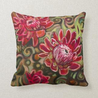 Rotes tropisches Blumenmuster-dekoratives Kissen