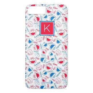 Rotes u. blaues Monogramm des Muster-  iPhone 8 Plus/7 Plus Hülle