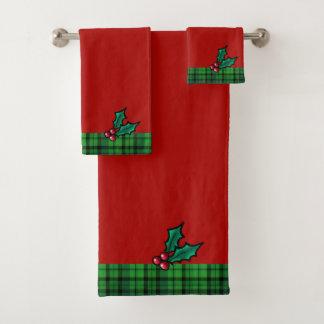 Rotes u. grünes Weihnachten kariert und Badhandtuch Set