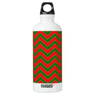 Rotes u. grünes WeihnachtsZickzack Wasserflasche