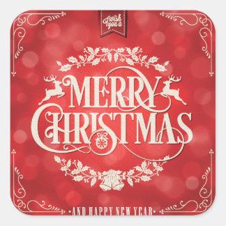 Rotes u. Sahneweihnachts-u. neues Jahr-Gruß Quadratischer Aufkleber
