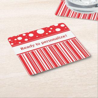 Rotes u. weißes Weihnachten Rechteckiger Pappuntersetzer