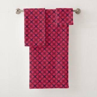 Rotes und blaues modernes geometrisches Muster Badhandtuch Set