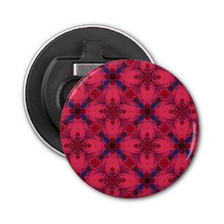 Rotes und blaues modernes geometrisches Muster Runder Flaschenöffner