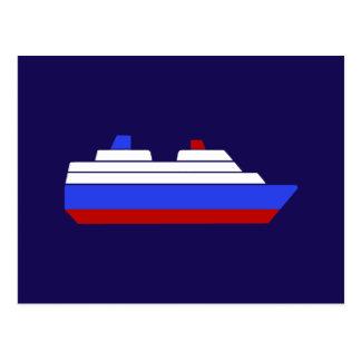 rotes und blaues Seeschiff Postkarte
