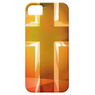 Rotes und gelbes religiöses Kreuz iPhone 5 Hülle