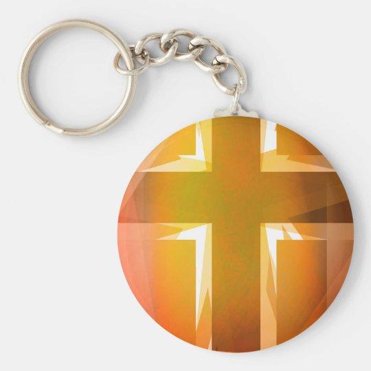 Rotes und gelbes religiöses Kreuz Standard Runder Schlüsselanhänger