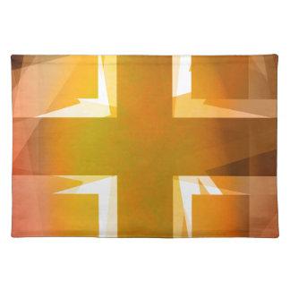 Rotes und gelbes religiöses Kreuz Tischset