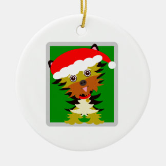 Rotes und grünes Weihnachten Yorkie Keramik Ornament