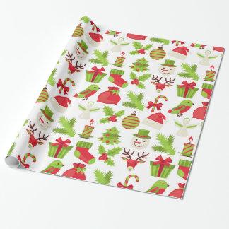 Rotes und grünes WeihnachtsPackpapier Geschenkpapier