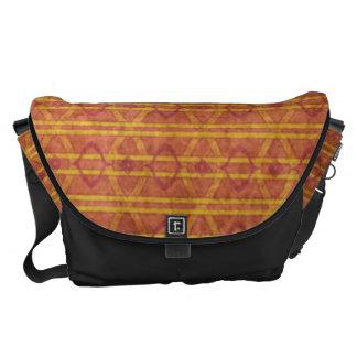 Rotes und orange aztekisches Muster Kurier Tasche