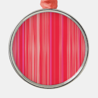 Rotes und rosa gestreiftes Muster Rundes Silberfarbenes Ornament