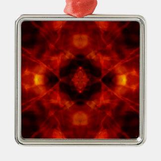 Rotes und schwarzes Kaleidoskopmuster Quadratisches Silberfarbenes Ornament