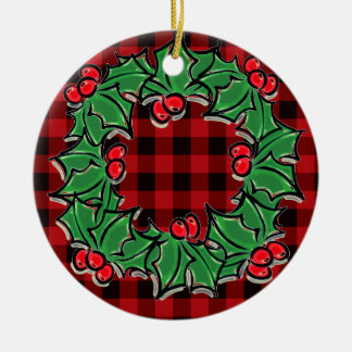 Rotes und schwarzes kariertes StechpalmeWreath - Keramik Ornament