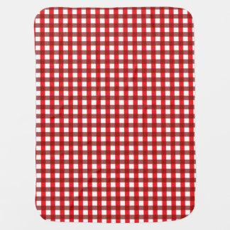 Rotes und weißes Gingham-Muster Kinderwagendecke