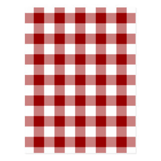 Rotes und weißes Gingham-Muster Postkarte