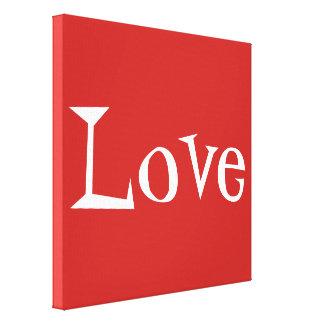 Rotes und weißes Liebe-Wort wickelte Leinwand Drucke