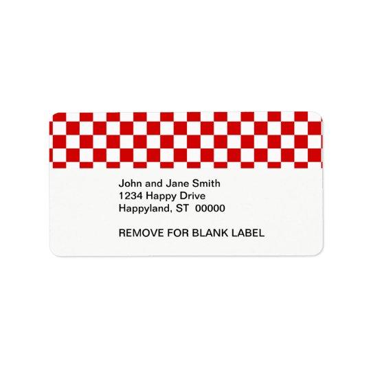Rotes und weißes Schachbrett-Muster Adressaufkleber
